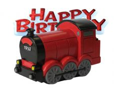 Train Resin Topper with Happy Birthday Motto